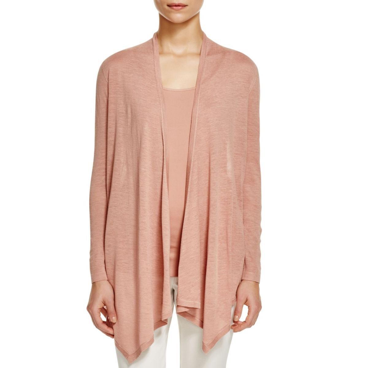 Eileen Fisher Womens Silk Drape Cardigan Top Pink XL