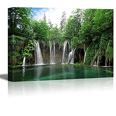 Waterfall in National Park Croatia - Canvas Art Wall Art - 32