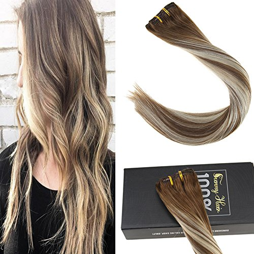 Sunny 16inch 7pcs Human Hair Extensions Clip in Balayage Medium Brown to Platinum Blonde Highlights Seamless Human Hair Clip in Hair Extensions 120grams/pack