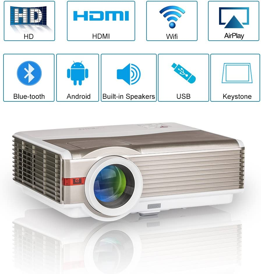 LED Video Projector Wireless Bluetooth 5000 Lumens WXGA LCD Smart HD Android WiFi Home Theater Outdoor Proyector HDMI USB VGA AV Audio Zoom for 1080P Movie Gaming TV Stick DVD Smartphone Laptops PS4