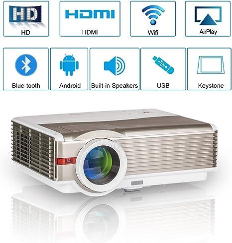 High Resolution 5000 Lumen LCD Wireless Bluetooth Video Projector Support Full HD 1080P Multimedia LED Android WiFi Projector HDMI USB VGA AV Audio ...