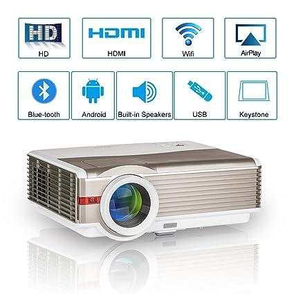 Proyector de películas Bluetooth Wxga LED Android Interior Exterior 5000 lúmenes Digital Inalámbrico Inteligente HD LCD Proyectores WiFi HDMI USB VGA ...