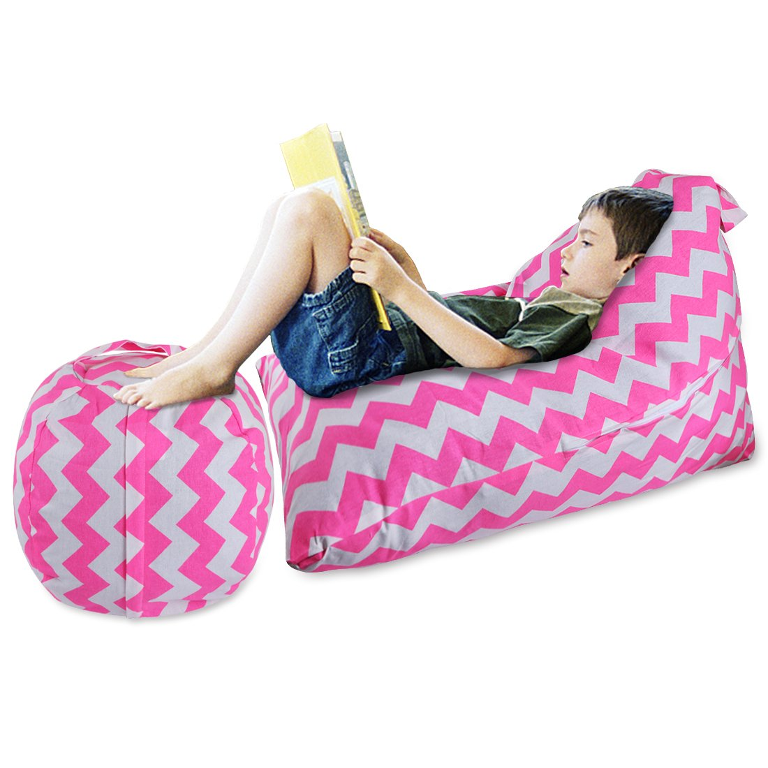 YellowPin 2pc Stuffed Animal Bean Bag Storage Lounger Chair Round Ottoman Value Set by YellowPin (Image #1)