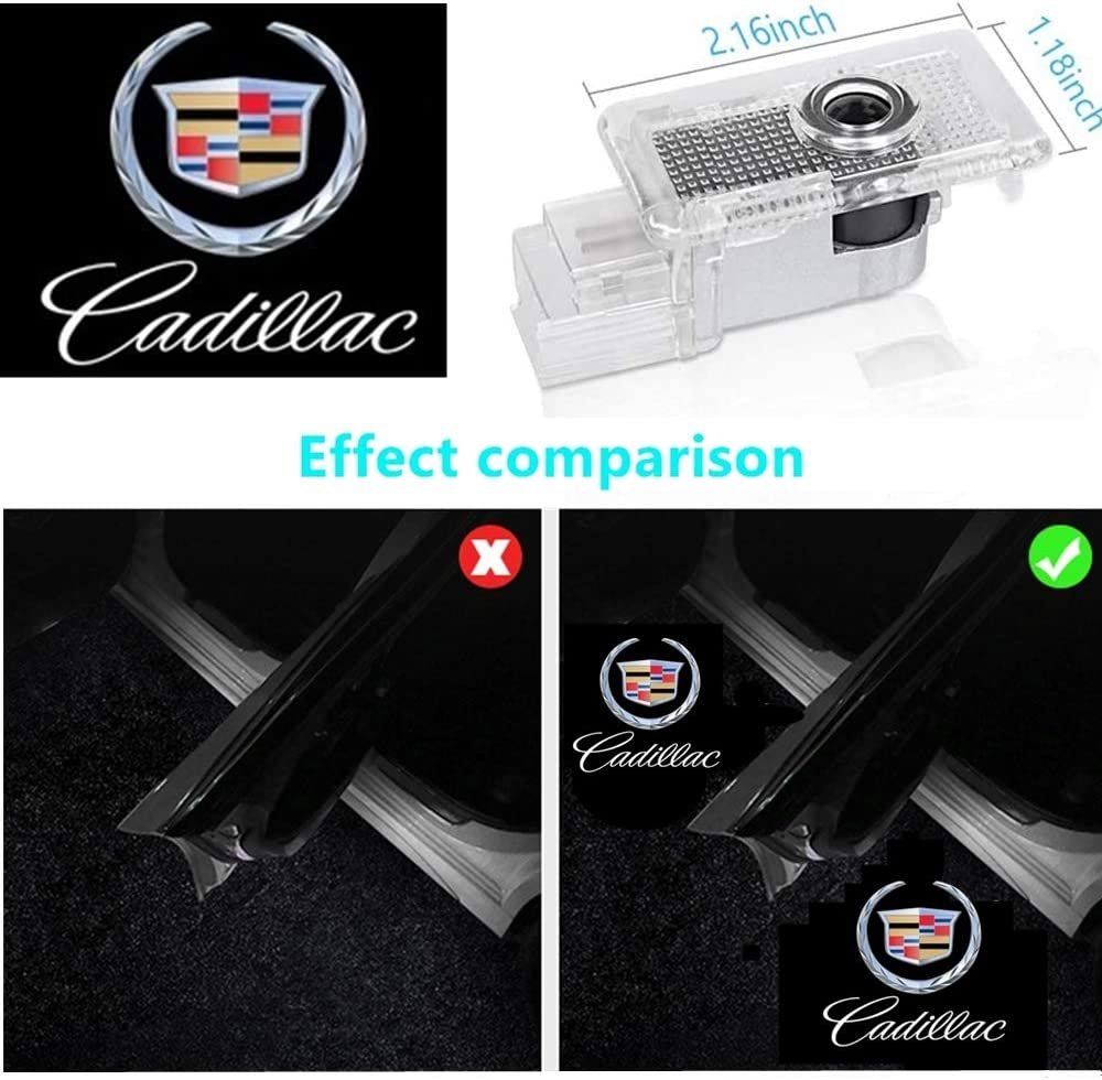 4 Pack Cadillac Car Door Logo Light Emblem Projector Ghost Shadow LED Welcome Light for ATS SRX XTS XT4 XT5 XT6 Cadillac Accessorie