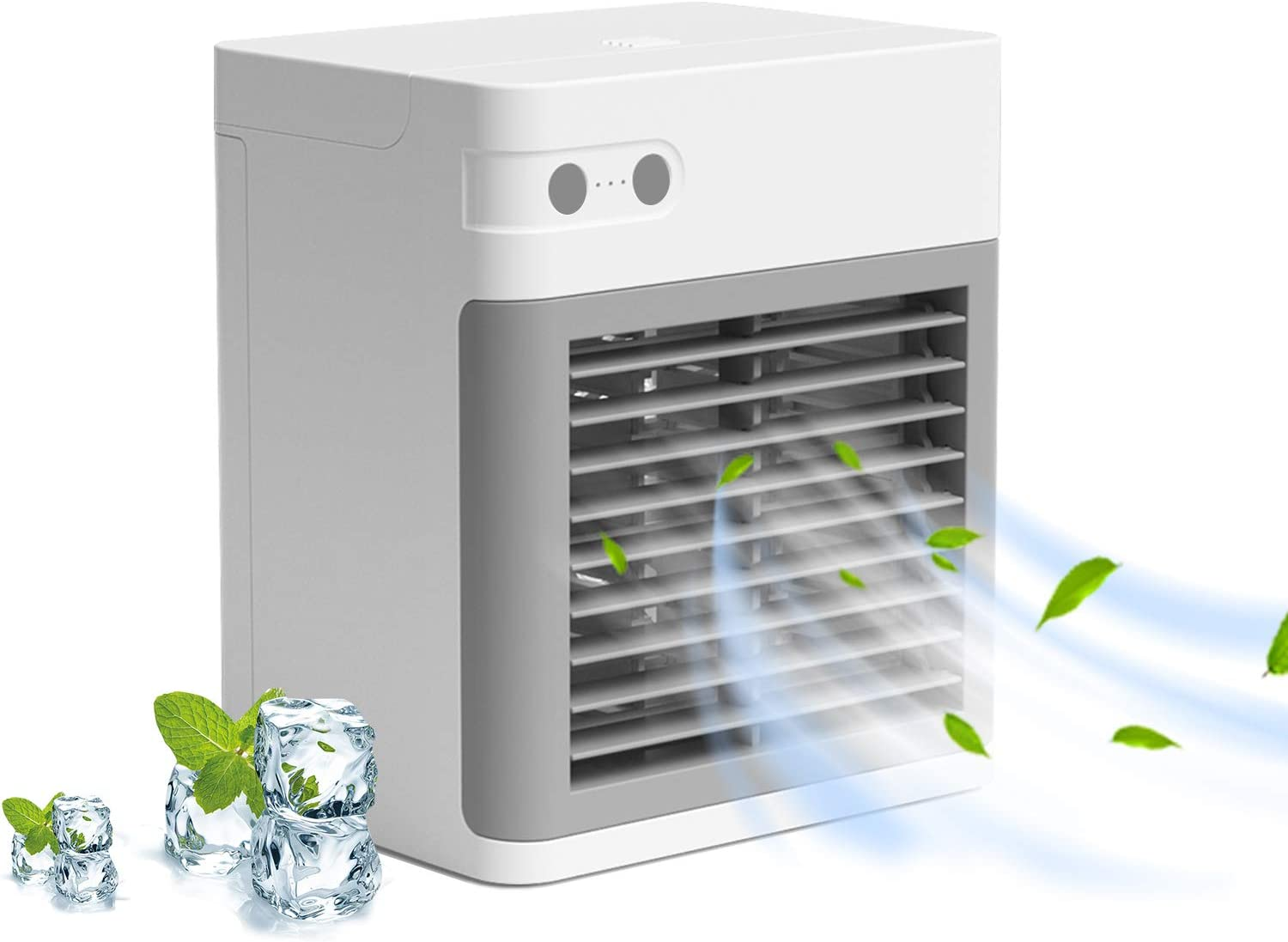 Portable Air Conditioner, Quiet USB Air Cooler with 3-Speed, Rechargeable Mini Air Conditioner with LED Light, Desktop Water Cooling Fan for Small Room/Office/Dorm/Bedroom