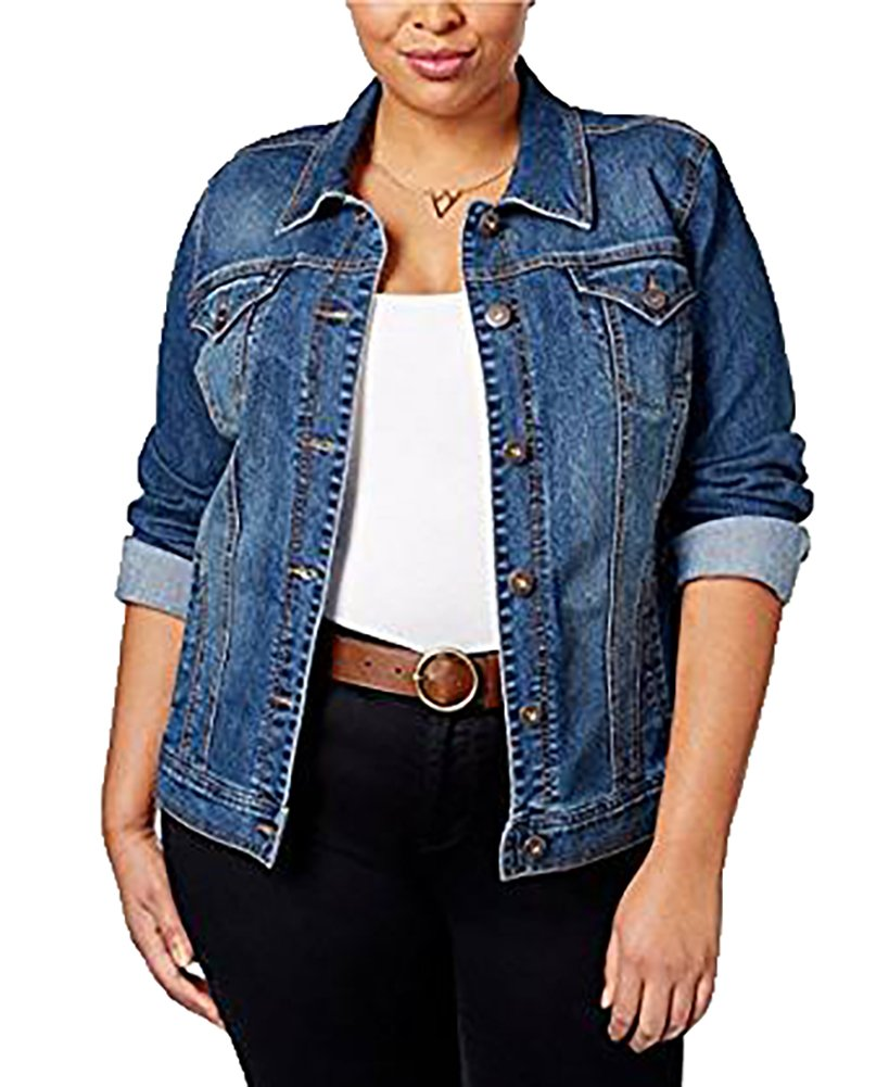 Style & Co Plus Size Denim Jacket (16W, Mosaic) by Style & Co.