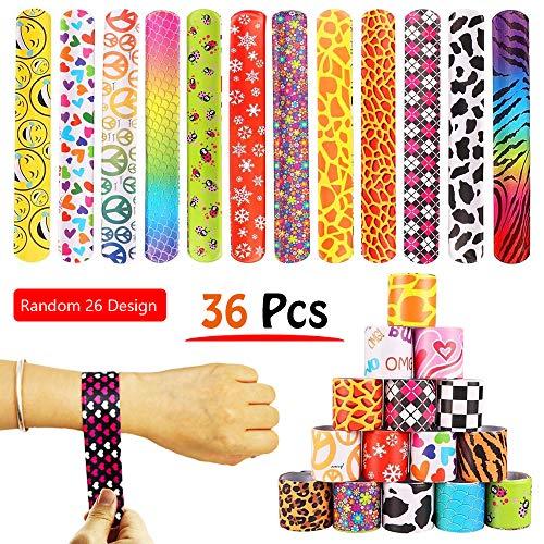 (VCOSTORE 36 Pcs Slap Bracelets Party Favors Pack with Diverse Pattern, Emoji, Animals, Heart Print Design, Retro Slap Wrist Bands for Kids Teens Adults Christmas Toys Prize)