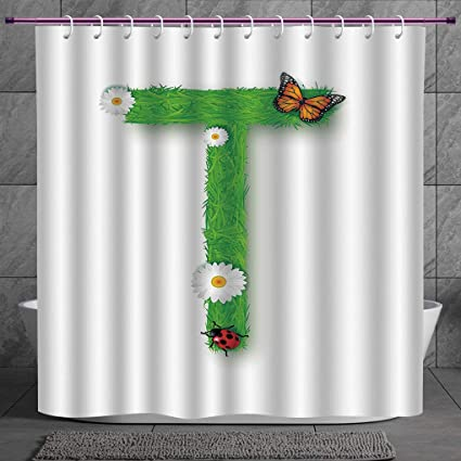 SCOCICI Funky Shower Curtain 20 Letter TCaps T With Flourishing Fragrance Botanical Design