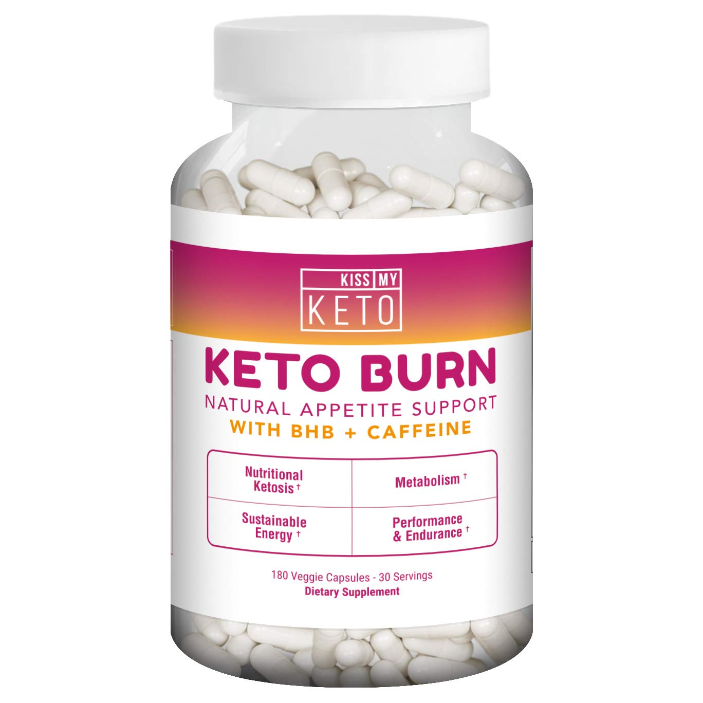Kiss My Keto Burn Capsules – 180 Veggie Caps, Exogenous Ketones Capsules with BHB Salts as...