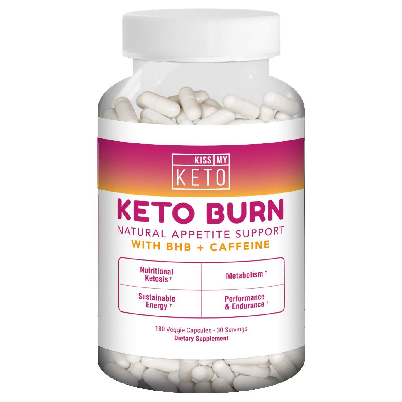 Kiss My Keto Burn Capsules - 180 Veggie Caps, Exogenous Ketones Capsules with BHB Salts as Ketones for Appetite Support w/Caffeine, Apple Cider Vinegar, L-Carnitine, CLA, Garcinia Cambogia