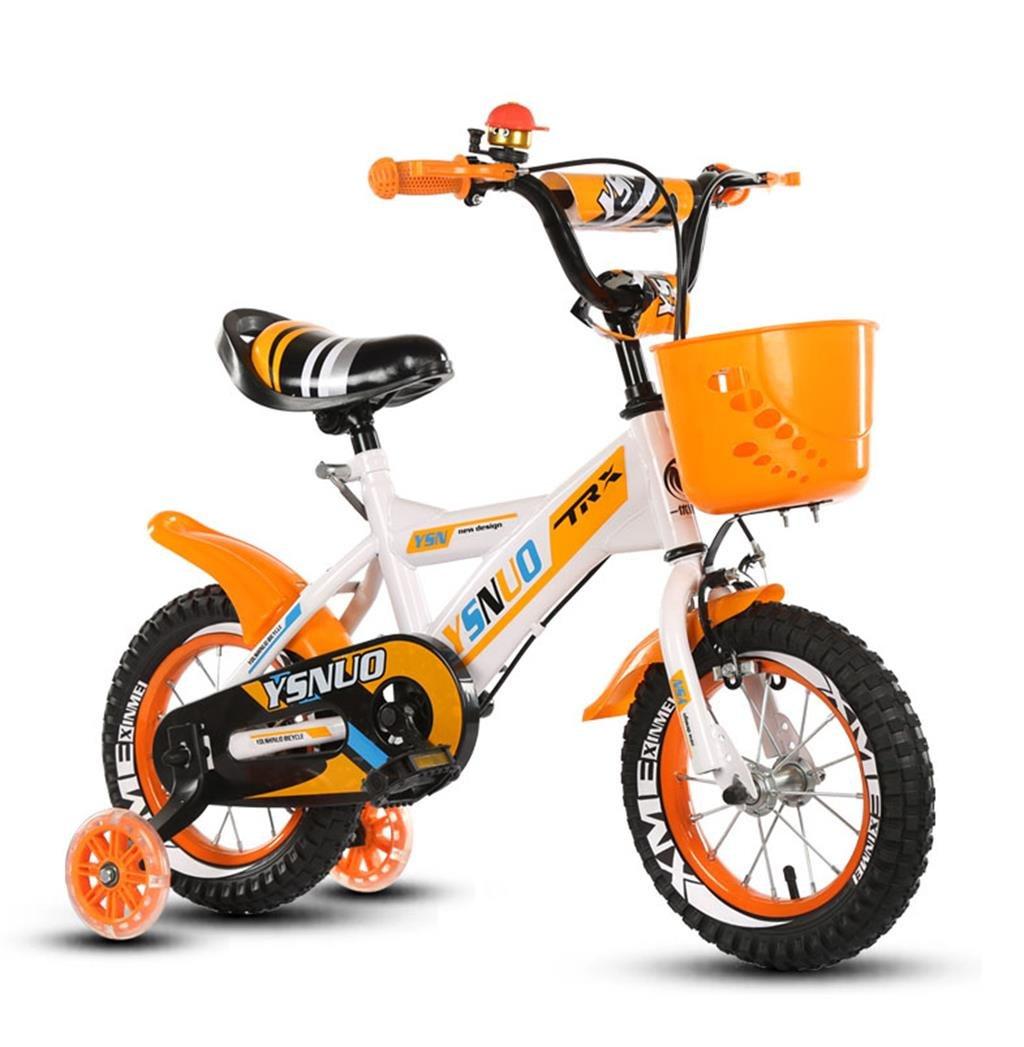 子供の自転車12|14|16|18インチアウトドアの子供ベイビーキッドマウンテンバイクフラッシュトレーニングホイールで2歳から10歳の男の子の女の子の贈り物|プラスチックバスケット安全な負荷50KGオレンジ B0789GH99M 16 inches