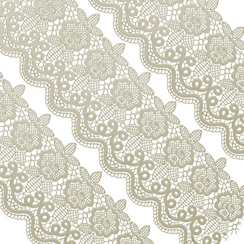 Funshowcase Large Pre-Made Ready to Use Edible Cake Lace Floral Medallion Scallop Ivory White 14-inch 10-piece Set]()
