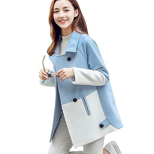 YAANCUN Mujer Otoño E Invierno Diseño De Dos Colores Costura Manga Larga Moda Abrigo De Lana Azul Cl...