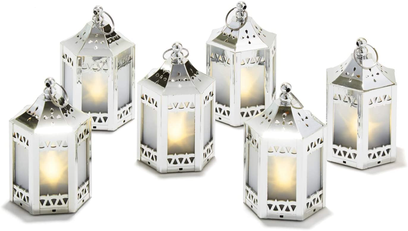Silver Mini Lanterns with Holographic Star Lights - 4.5 Inch Tall, Warm White LED, Small Table Decor for Wedding Centerpieces or Christmas Decorations, Batteries Included - Set of 6