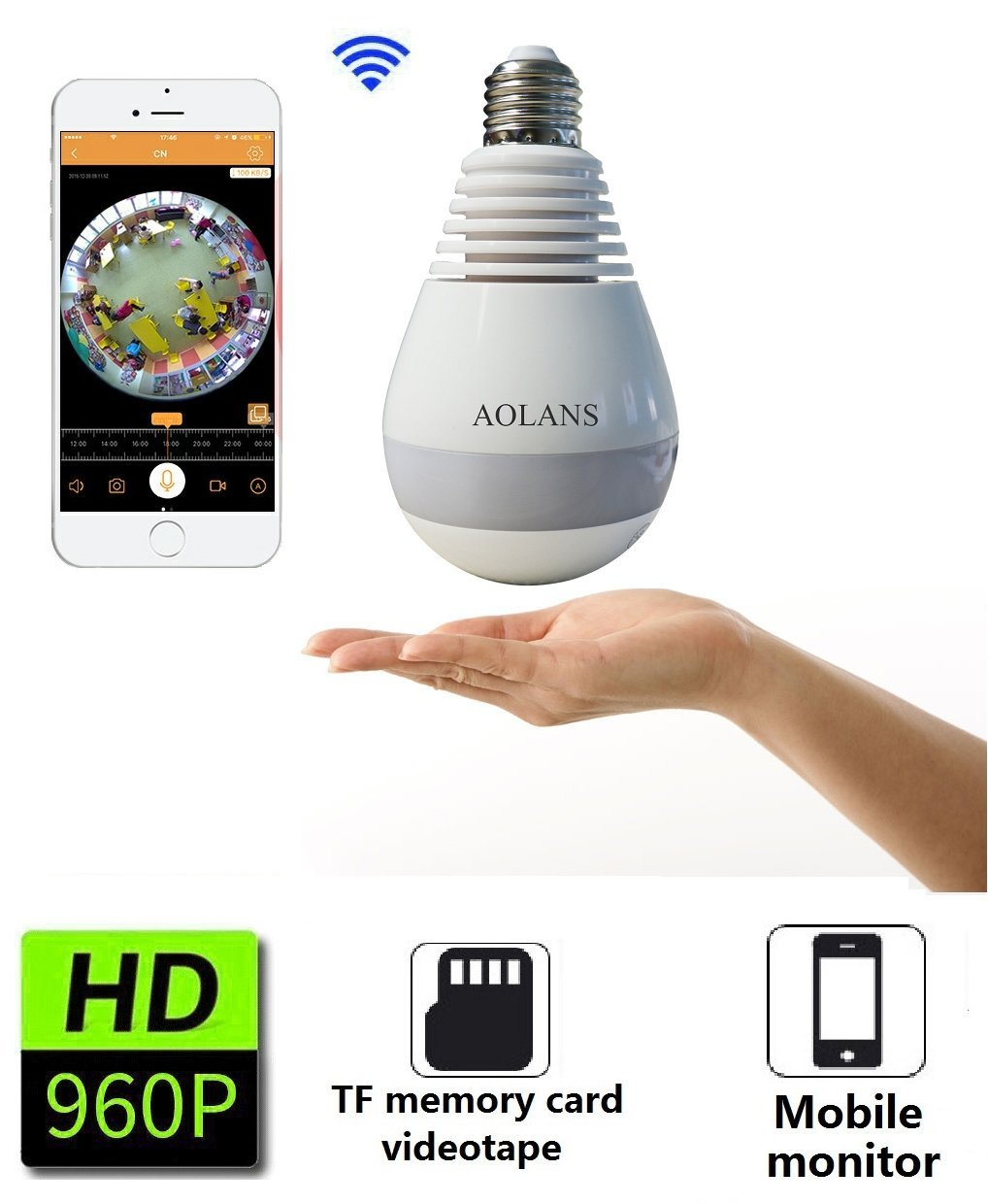 Wifi Light Camera, 960P HD Wireless IP Cam 360 Degrees Fisheye Panoramic  For for Home Security Camera E27 LED Dimmable /Pet /Nanny cam (AOLANS)