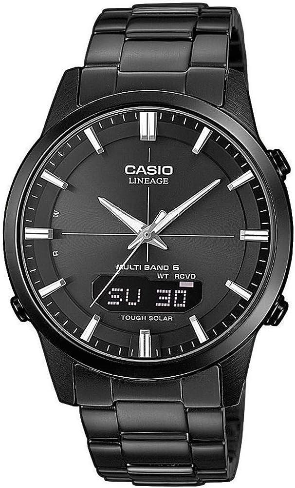 Casio WAVE CEPTOR Reloj Radiocontrolado y solar, Cristal de zafiro, Caja sólida, Negro, para Hombre, con Correa de Acero inoxidable macizo, LCW-M170DB-1AER