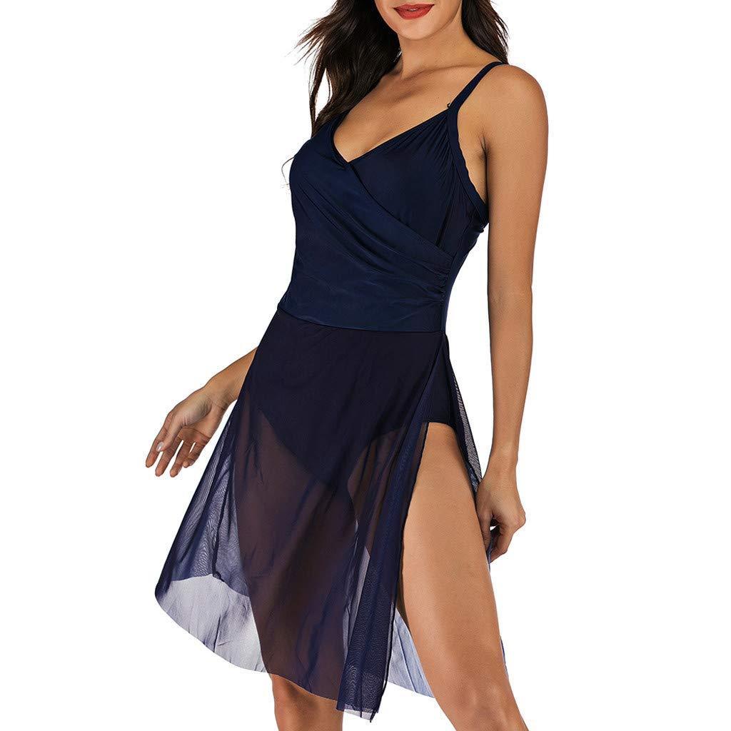 Women Mesh Swim Dress Swimsuit One Piece Medium Long Dress Bathing Suit Lace Back Cross Splice Cover Ups Swimwear