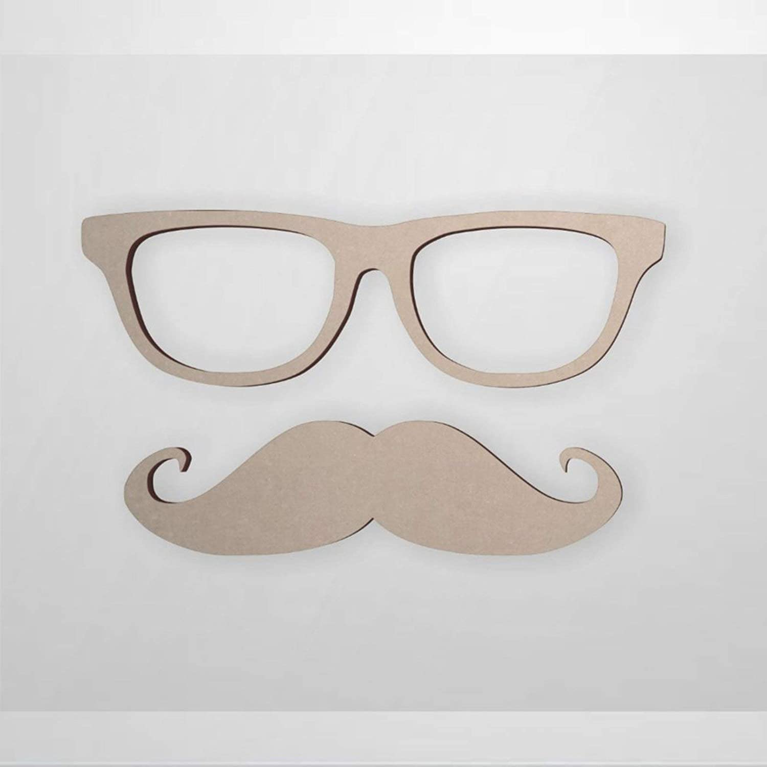BYRON HOYLE Glasses and Mustache Wood Craft,Unfinished Wooden Cutout Art,Inspirational Farmhouse Wall Plaque,Rustic Home Decor for Living Room,Nursery,Bedroom,Porch,Gallery Wall
