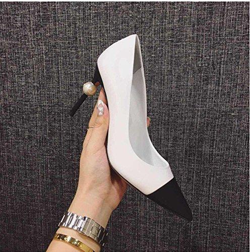 white colori ZHANGJIA sexy le 36 high shoes i mano bene puntata pearl heeled primavera scarpe con solo tutto club night scarpe wvrqIwR