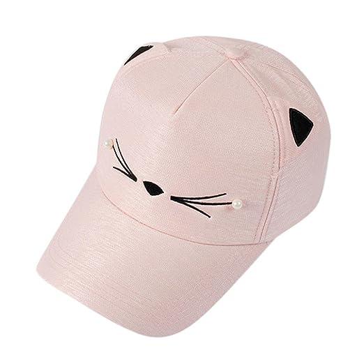 620fc0c7d4f Amazon.com  AMA(TM) Cat Ears Cap Fashion Tide Pearl Women Baseball Caps Cute  Mini Cat Hats (Black)  Clothing