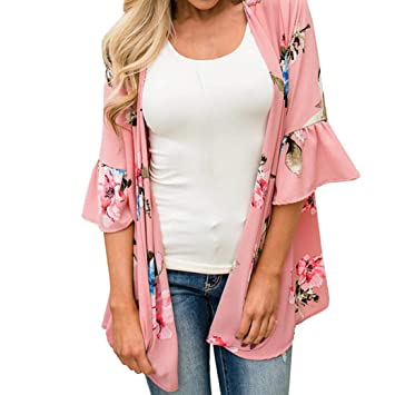 e2e49155d6350 Amazon.com  Nice Women Loose Chiffon Shawl Print Kimono Cardigan Top ...