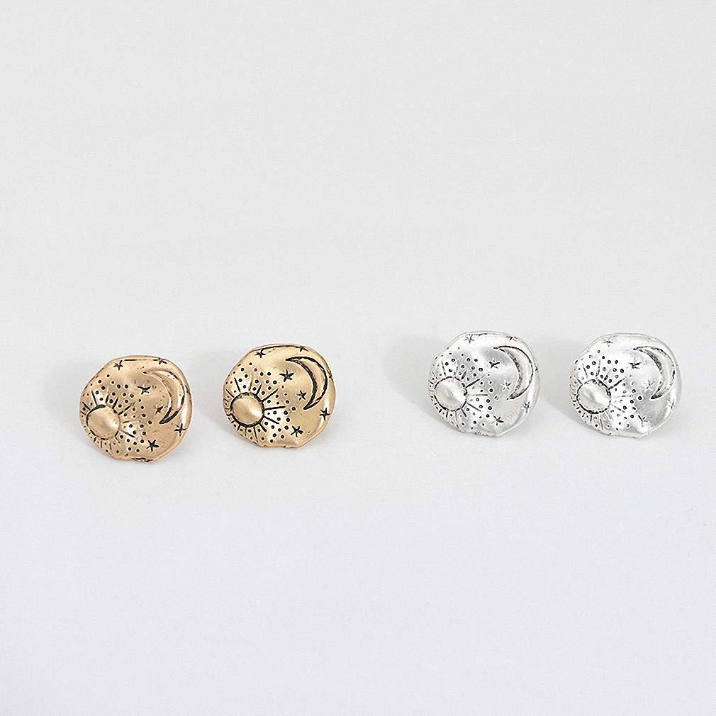 Zinc Alloy Round Stud Earrings Women Texture Sun Moon Star Minimalist Studs Earring Drop Earing Gold