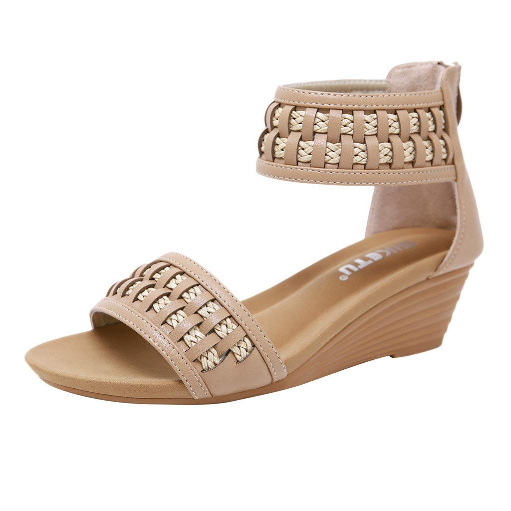 Bohemian Sandals,Boomboom Zipper Open Toe Platform Wedges Heeled Sandals Shoes for Women (Beige,US 6.5)