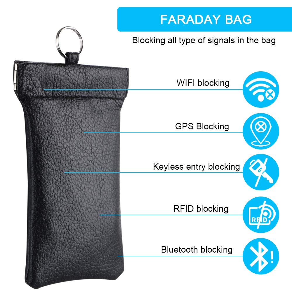 RFID Blocker for Car Keys Car Key Signal Blocking Genuine Leather Pouch Keyless Fobs Hook Design Faraday Bag BLACK 1**Extra Rope Include flintronic/® Car Key Case