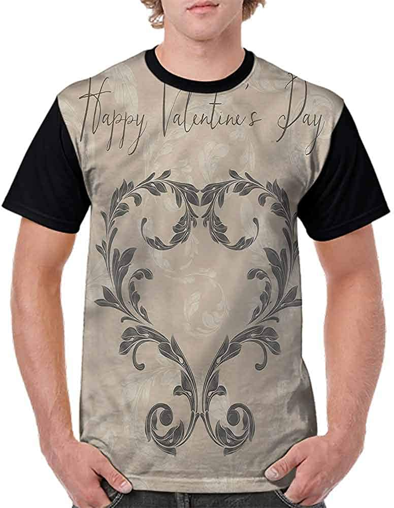 BlountDecor Casual Short Sleeve Graphic Tee Shirts,Valentines Day Taupe Fashion Personality Customization