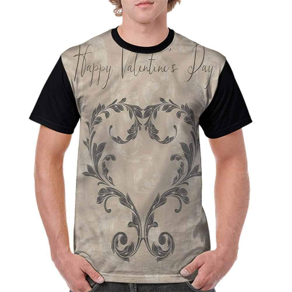 BlountDecor Cotton T-Shirt,Valentines Day Taupe Fashion Personality Customization
