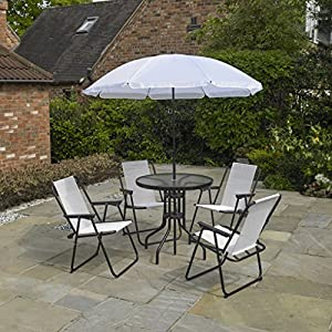 Kingfisher FSPROMOC 6 Piece Cream Garden Furniture, Patio Set inc. 4 x Chairs, Table & Parasol, Cream & Black