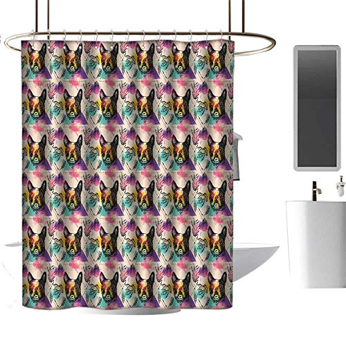 - TimBeve Polyester Shower Curtain Dog Lover,Colorful Crystals Pattern Triangles Sixties Inspired Psychedelic Boston Terrier,Multicolor,Polyester Bathroom Shower Curtain Set with Hooks 54