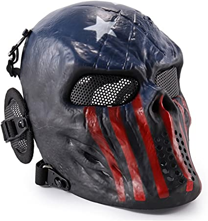 Carbon Steel Adjustable Full Face Mask Mesh Mouth Ear Protection Headwear Mask