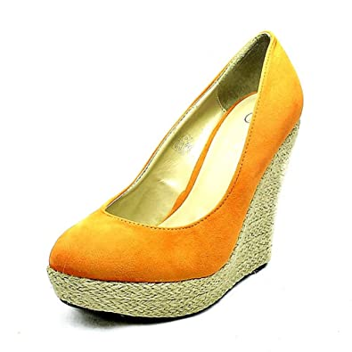 SendIt4Me Banana Yellow Wicker Wedge Court Shoes