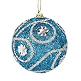 Hot AIMTOPPY Christmas Rhinestone Glitter Baubles Balls Xmas Tree Ornament Decoration 8CM (blue, free)