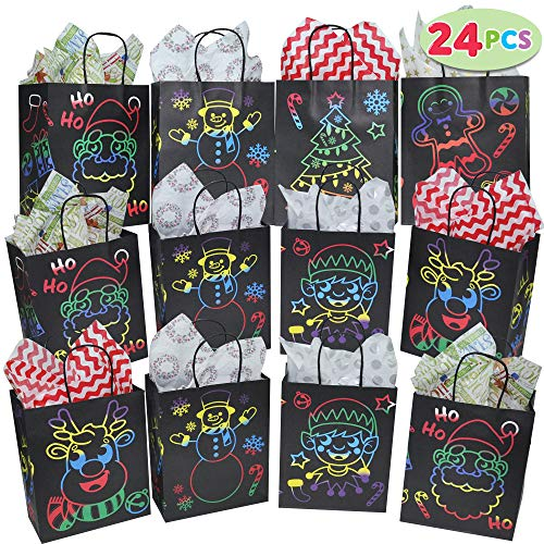 24 PCs Christmas Gift Bags for Holiday Classroom Party Favor Supplies Goodie Bags, Christmas Giveaway Bags, Xmas Goody Bags.