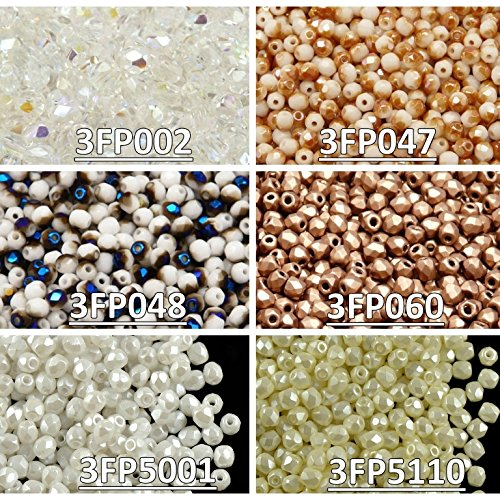 600 beads 6 colors Czech Fire-Polished Glass Beads Round 3 mm, Set 325 (3FP002 3FP047 3FP048 3FP060 3FP5001 3FP5110)