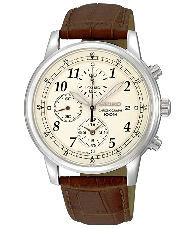 c6b624014 Seiko Men s SNDC31 Classic Brown Leather Beige Chronograph Dial Watch   Seiko  Amazon.ca  Watches