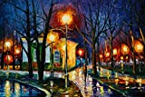 (US) DIY 5D Diamond Cross Stitch Painting Kits,Night Scenery In Park Round Diamond Mosaic Embroidery By Numbers Kits Handmade Rhinestone Canvas Craft Art