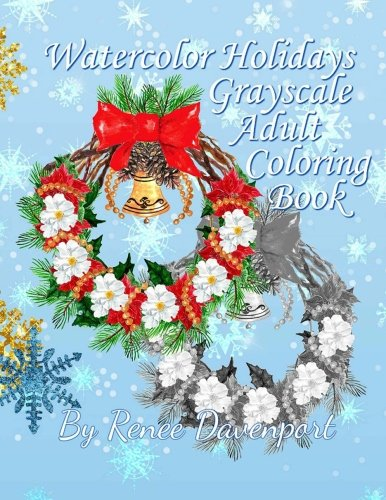 Watercolor Holidays Grayscale Adult Coloring -