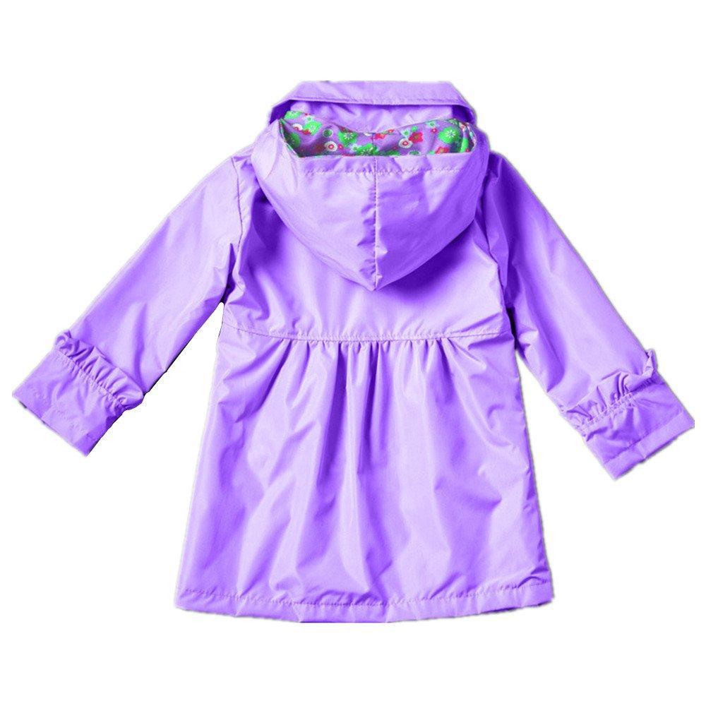 ZPW Baby Kid Girls Hooded Waterproof Outwear Rain Jacket