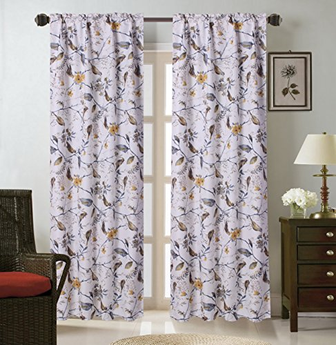 GorgeousHomeLinen (WARDA) 1 Panel Print Design Insulated Thermal Blackout Window Curtain Rod Pocket, 35