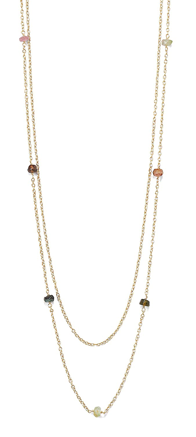 Two Strand 15//16.5+2 Ext 14K Gold Plated Sterling Silver Necklace 3.5x4mm Rondell Tourmaline Beads