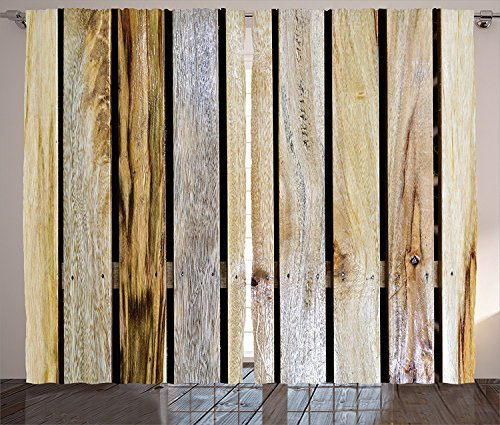 Rustic Home Decor Curtains Vintage Timber Fence of Country Rough Rural House Village Mother Earth Print Living Room Bedroom Window Drapes 2 Panel Set Brown For Sale