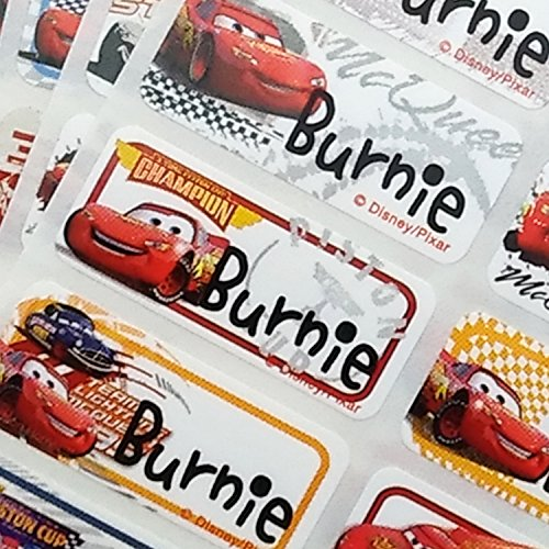 (VivaLabels Character Name Stickers, Name Labels: Cars (120 pieces, Waterproof, Personalized Labels, Get 1 Storage Folder free))