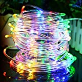 Solar Rope String Lights Waterproof 33ft 100 LED Copper Wire Outdoor Fairy String Lights Ambiance Lighting for Halloween, Landscape, Patio, Garden, Christmas, Party, Wedding(Multi-Color)