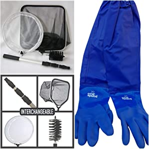 Pond Cleaning Care Kit, 4-in-1 Net Set Includes String Algae Scrubbing Brush, Skimming Net & Fish Catching Net with 6 FT Telescopic Pole and Full Arm Pond Gloves