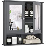 Tangkula Bathroom Cabinet Wall Mounted with Double Mirror Doors, Wood Hanging Cabinet with Doors and Shelves, Bathroom Wall M