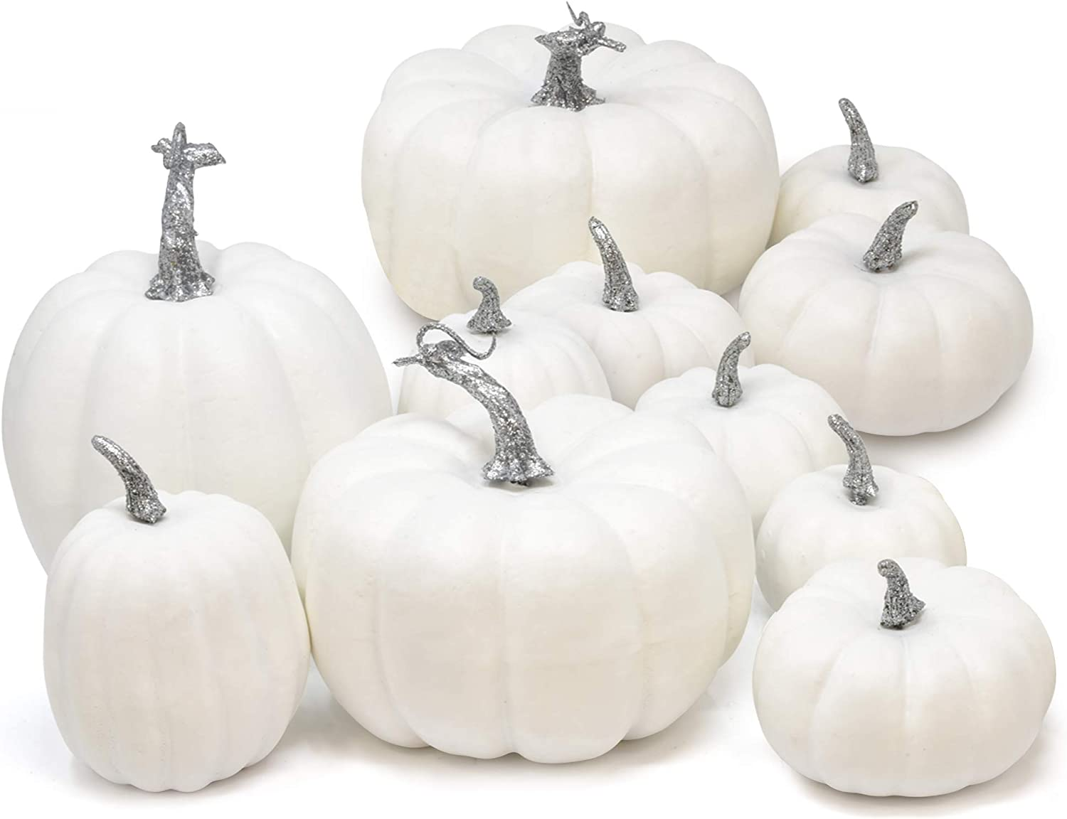 11 Count Artificial White Pumpkins Faux Harvest Pumpkin Decoration for Fall Wedding Thanksgiving Halloween Seasonal Holiday Autumn Tabletop Centerpiece Party Crafts and Home Decor Assorted Sizes