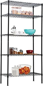 Storage Metal Shelf, 5 Tier HeavyDutyShelves, Organizer Metal Wire Rack, NSF Wire Shelving Unit, Durable Shelving for Garage Pantry Closet Kitchen Office Laundry, 14